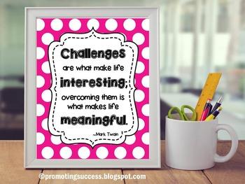 Mark Twain Quote Poster ~ Pink Polka Dot Classroom Decor ~
