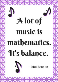 """Poster - Math Quote """"Math is Music"""""""