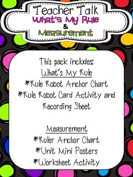 Poster Mini Series: What's My Rule & Measurement