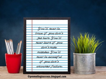 Poster Inspirational Quote About Success Classroom Decor Back to School Sign
