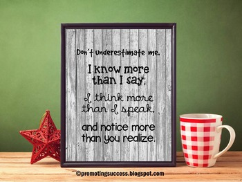 Early Childhood Special Education Poster, Don't Underestimate Me Quote