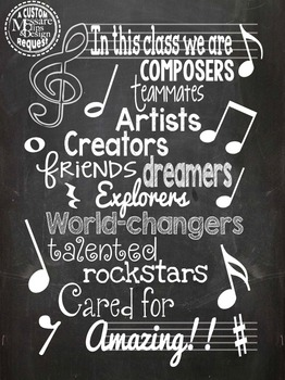 Poster - Music Motivation Classroom Poster {Messare Clips and Design}