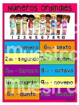 Poster Números Ordinales - Fondo Rosa