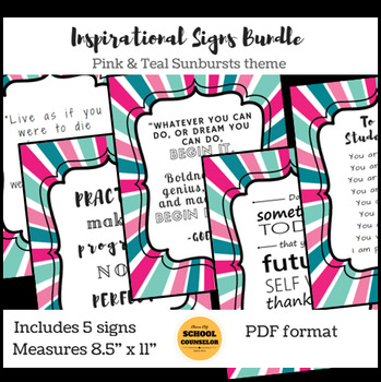 Poster Quotes Bundle | Pink/Teak Starburst | School Counselor
