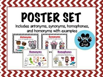 Poster Set Antonyms Synonyms Homophones Homonyms By