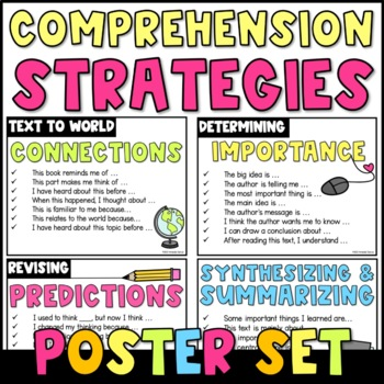 Comprehension Strategies Sentence Starters {Poster Set}: Chevron Stripes