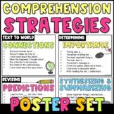 Comprehension Strategies Sentence Starters {Poster Set}: Chevron Stripes