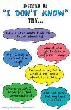 "Poster Set: What to say instead of ""I don't know"" (growth mindset)"