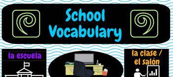 Poster - Spanish School Vocabulary