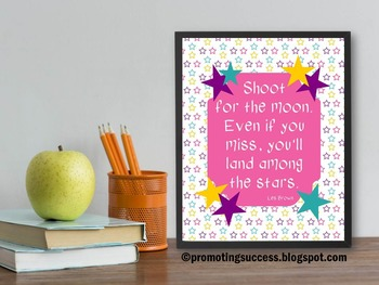Shoot for the Moon Star Theme Inspirational Quote Poster 8x10 16x20
