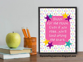 Shoot for the Moon Star Theme Classroom Decor Inspirational Poster 8x10 16x20