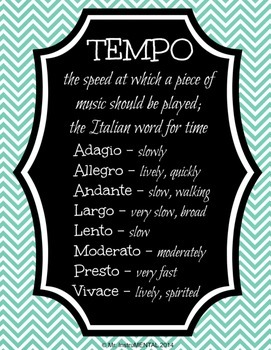 Tempo and Italian Terms with Definitions - Poster