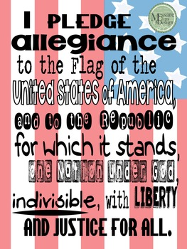 Poster - The Pledge of Allegiance Classroom Poster {Messare Clips and Design}