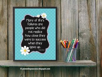 Thomas Edison Inspirational Quote Quote Poster, Turquoise Classroom Decor