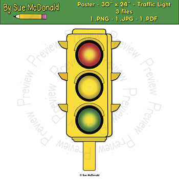 "Poster - Traffic Light - 24"" x 30"" High Quality Vector Graphics"