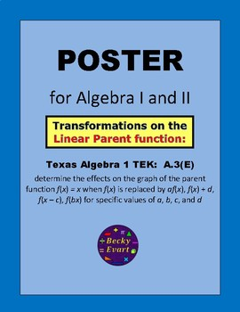 Poster - Transformations on the Linear Parent Function