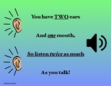 Poster - Two Ears, One Mouth, Listen Twice as Much as You Talk!