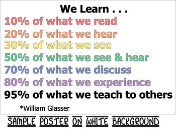 Poster - We Learn Better Together - William Glasser Quote - High School Decor
