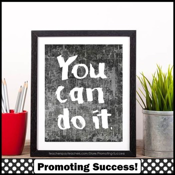 You Can Do It Motivational Poster, Grungy Chalkboard Classroom Decor