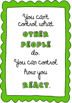 Poster You can control how you react behaviour management self-regulation