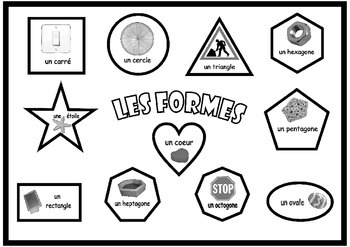 Poster   about the  Shapes in French  . A3 size .