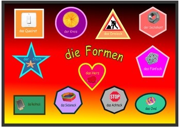 Poster   about the  Shapes in German  . A3 size .