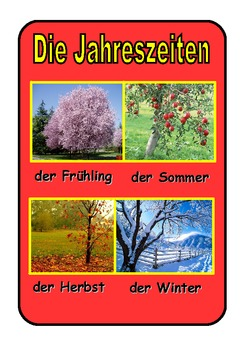 Poster  about the seasons in German .Red