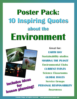 Poster And Activity Pack Environmental Earth Day Quotes Tpt