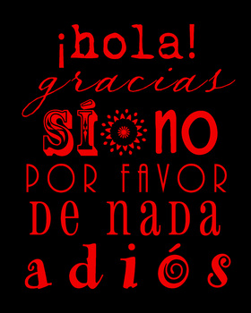 Poster - basic vocabulary in Spanish