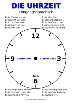 Poster clock DIN A3 - Posteruhr, German, level A1