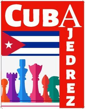 """Poster con las palabras """"Cuba"""" y """"Ajedrez"""""""