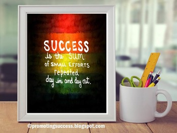 Motivational Quote Poster about Success, Rainbow Classroom Theme