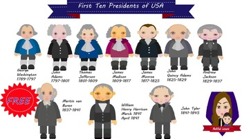 First Ten Presidents of the United States of America (FREE)