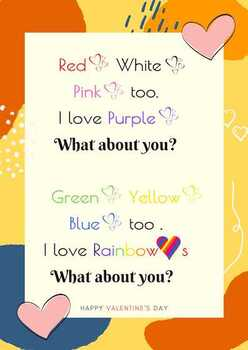 """Poster of """"I Like Hearts"""" - by Nellie Edge {Kindergarten Rhymes}"""