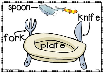 Poster  (plate, fork, knife and spoon)