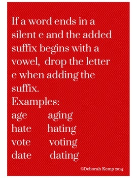 Poster to Teach Dropping the Silent e When Suffix Begins With a Vowel