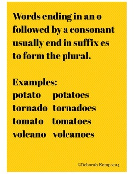 Poster to Teach Making a Word Plural When It Ends In o