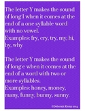 Poster to Teach the Sound of y at the End of a Word