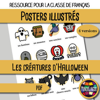 Poster to teach French/FFL/FSL: Créatures d'Halloween/Monsters