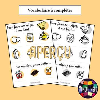 Poster to teach French/FFL/FSL: Crêpes ingrédients