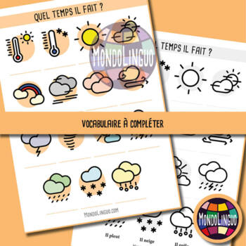 Posters to teach French/FFL/FSL: Le temps qu'il fait/Weather