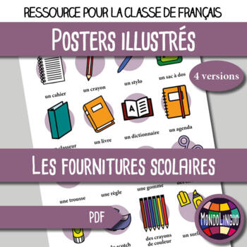 Poster to teach French/FFL/FSL: Ma trousse/my pencil case
