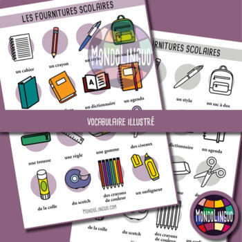 Posters to teach French/FFL/FSL: Ma trousse/my pencil case