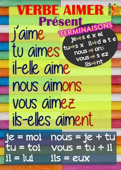 Poster verbe aimer en français