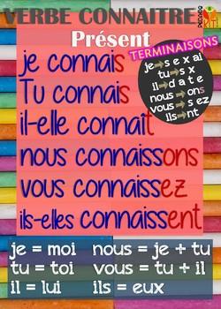 Poster verbe connaitre en français
