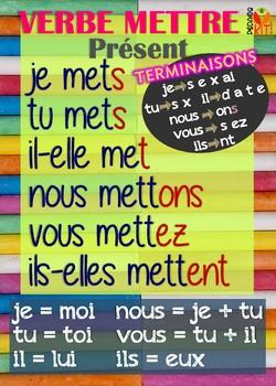 Poster verbe mettre en français
