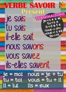 Poster verbe savoir en français