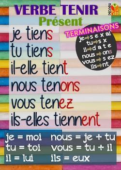 Poster verbe tenir en français
