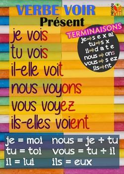 Poster verbe voir en français