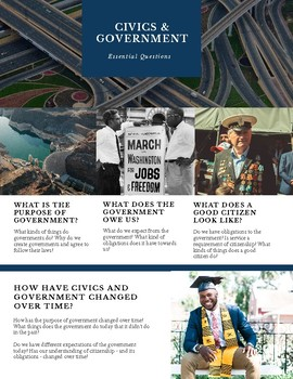 Poster with Civics and Government Essential Questions